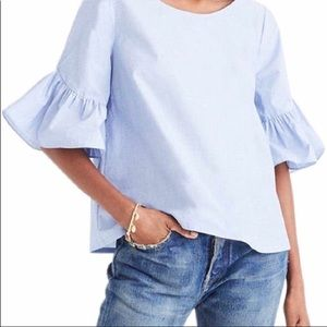 Madewell Chambray Crop Top With Bell Sleeves